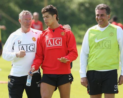 MANCHESTER, ENGLAND - MAY 15: Manager Sir Alex Ferguson, Cristiano Ronaldo and Assistant Manager Carlos Queiroz of Manchester United in action during a First Team training session at Carrington Training Ground on May 15, 2008, in Manchester, England. (Photo by Matthew Peters/Manchester United via Getty Images) - 20080515